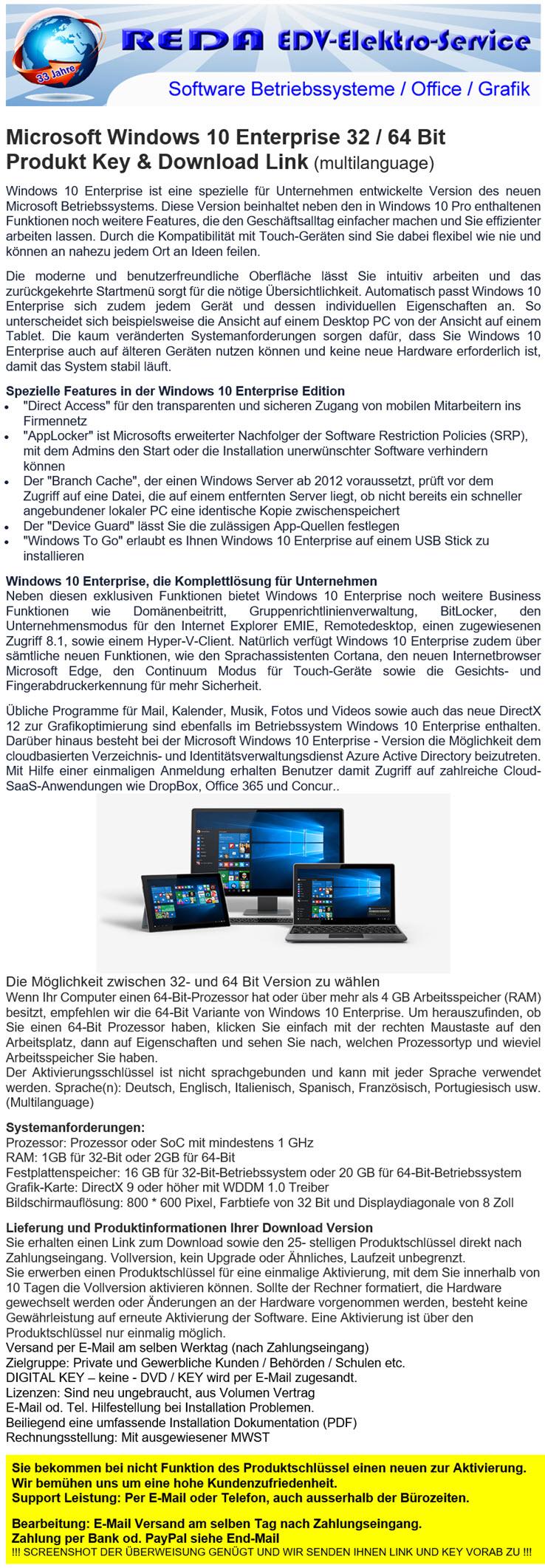 Microsoft Windows 10 Enterprise (Multi) kaufen auf ricardo ch